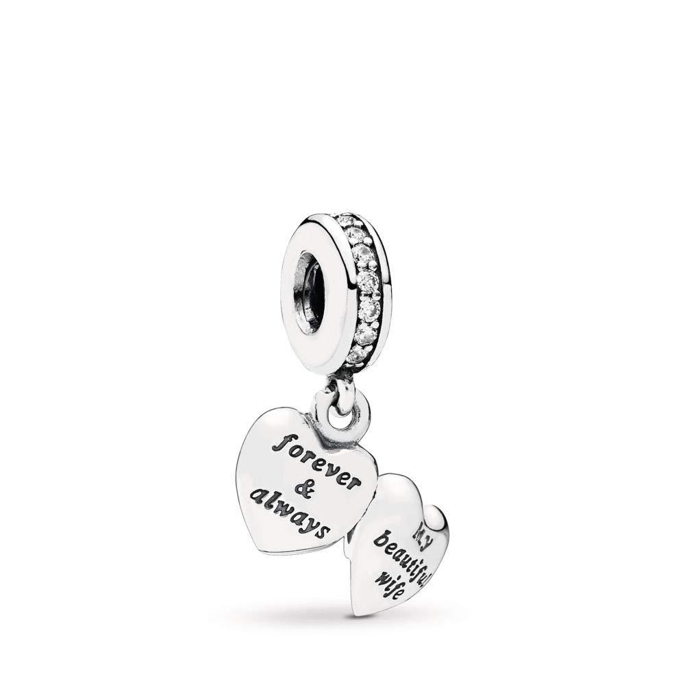 PANDORA My Beautiful Wife Dangle Charm, Sterling Silver, Cubic Zirconia, One Size by PANDORA