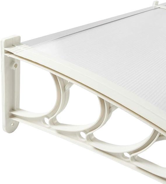 T/ürdach /Überdachung mit weisser St/ütze PrimeMatik Vordach 120x90 cm transparent