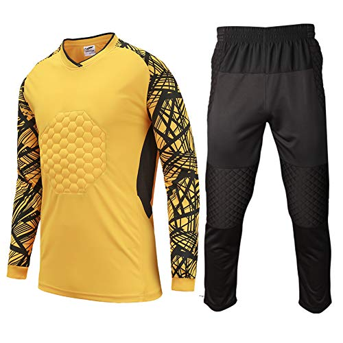 Shinestone Youth Adult Men's Goalkeeper Armor BodyShield Padded Shirt Pants with Sponge Chest Protector for Football Soccer Baseball (Yellow, Small)