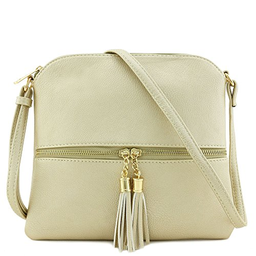 - Lightweight Medium Crossbody Bag with Tassel (Gold)