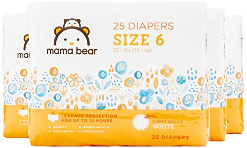 Amazon Brand - Mama Bear Diapers Size 6, 100 Count, White Print (4 packs of ()