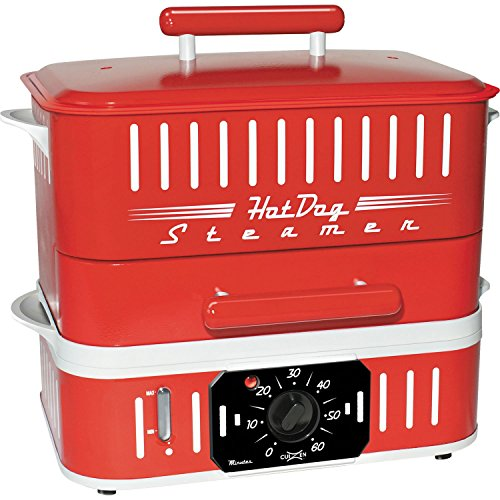 Cuizen-CST-1412B-Retro-Hot-Dog-Steamer-Red