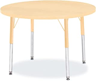 """product image for Berries Round Activity Table - 36"""" Diameter, Standard Leg Elementary 15""""- 24"""", Tabletop Maple with Truedge and Leg Maple"""