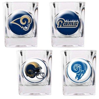 St. Louis Rams - 4 Piece Square Shot Glass Set w/Individual Logos