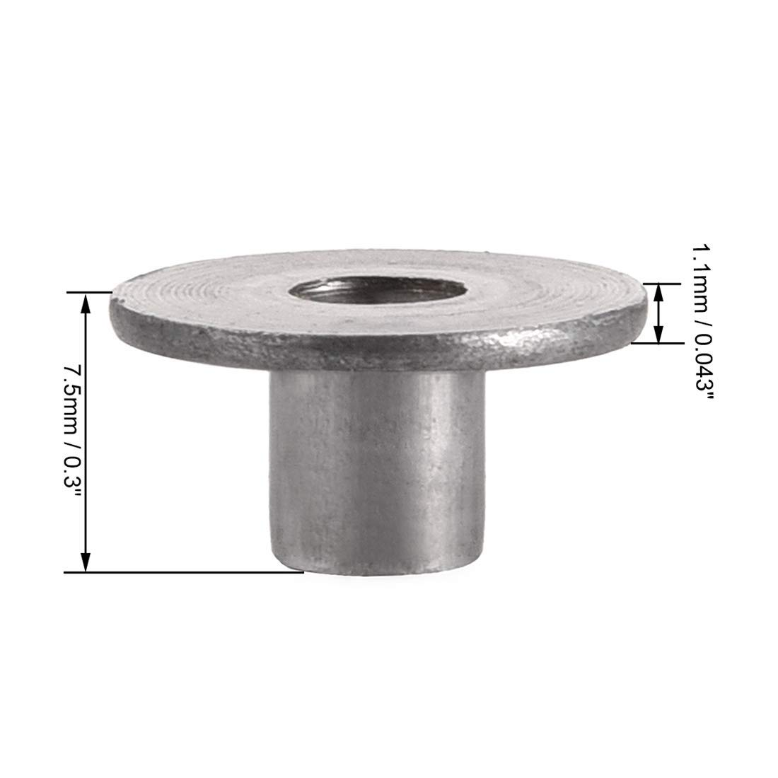 3//16 DIAMETER X 1-1//4 LENGTH SOLID STEEL ROUND HEAD RIVET PACK OF 1//2 POUND - APPROXIMATELY 42 PIECES PLAIN FINISH,