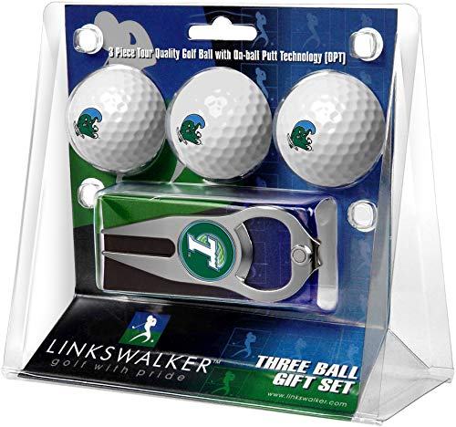 NCAA Tulane University Green Wave - 3 Ball Gift Pack with Hat Trick Divot Tool