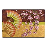 ABLINK Sakura Pattern Japanese Fan Living & Bedroom Non-slip &...