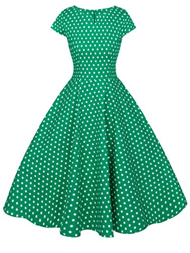FAIRY COUPLE Vintage Rockabilly Cap Sleeves Prom Dress M Green Small White Dots ()