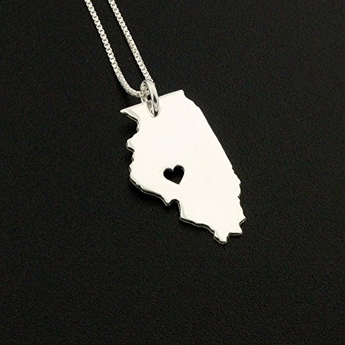 (Illinois necklace Personalized sterling silver Bright Satin Finish Illinois state necklace with heart Hometown Jewelry - best friend Gift - family gift long distance relationship gifts - pendant)
