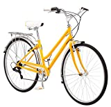 Schwinn Wayfarer Hybrid Bicycle, Featuring Retro-Styled 16-Inch/Small Steel Step-Through Frame and 7-Speed Drivetrain with Front and Rear Fenders, Rear Rack, and 700C Wheels, Yellow
