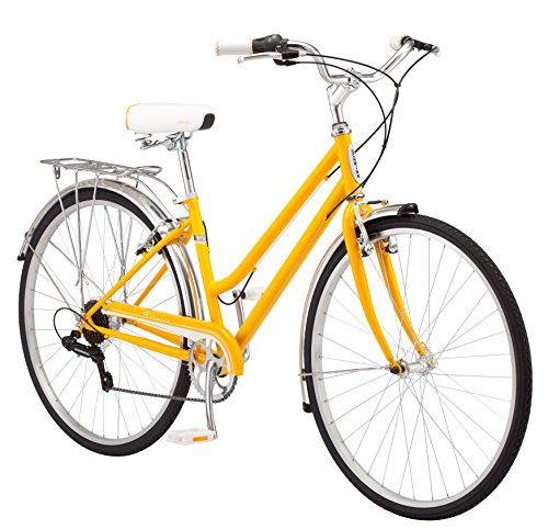 (Schwinn Wayfarer Hybrid Bicycle, Featuring Retro-Styled 16-Inch/Small Steel Step-Through Frame and 7-Speed Drivetrain with Front and Rear Fenders, Rear Rack, and 700C Wheels, Yellow)