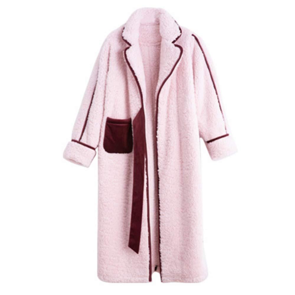 PINK NAN Liang Winter Ladies Warm Pajamas, Ladies Sweet Padded Nightdress, Long Sleeve Loose Home Service 3 Soft (color   Pink, Size   XL)