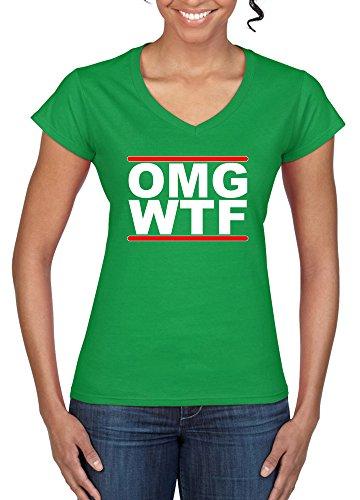 Womens Funny Sayings tshirts OMG WTF V-Neck T-Shirt Softstyle tshirt-IRGN-XL