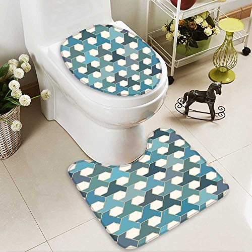 SOCOMIMI Lid Toilet Cover Collection Islamic Tiles Mosaic Pattern Antique Cultural Eastern Hexagon Shape Image Blue Teal Personalized Durable by SOCOMIMI