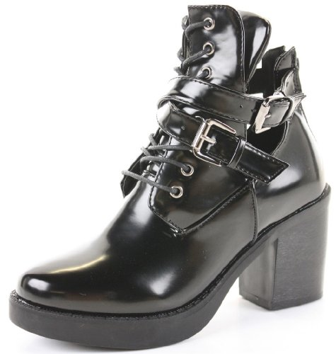 Ladies Block Shoes Heeled Booties Mid Heel Platform Chelsea Cut Out Ankle Boots Size Style H - Black Matt