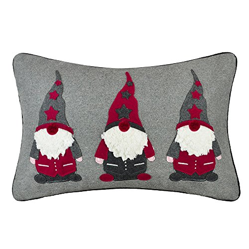 JWH Christmas Santa Claus Accent Pillow Case Elf Applique Embroidery Cushion Cover Decorative Pillowcase Handmade Sham…