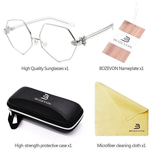 Mode Bozevon transparent Vintage De Métal Protection Argenté Lozenge 400 Uv Punk Unisexe Polarisé Soleil Lunettes qSRwqF1