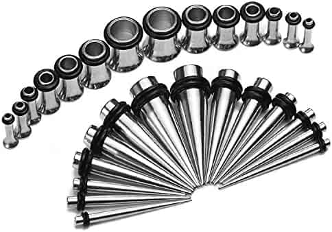 BodyJ4You 28PCS Stretching Kit Surgical Steel Tapers and Plugs 12G-0G Ear Gauge Expanders Set