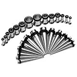 Gauges Kit 28 Tapers Steel with Single Flared Plug Tunnels 12G, 10G, 8G, 6G, 4G, 2G, 0G Ear Stretching