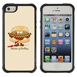 Suave TPU GEL Carcasa Funda Silicona Blando Estuche Caso de protección (para) Apple Iphone 5 / 5S / CECELL Phone case / / Funny Minister Of Hot Dogs Burger /