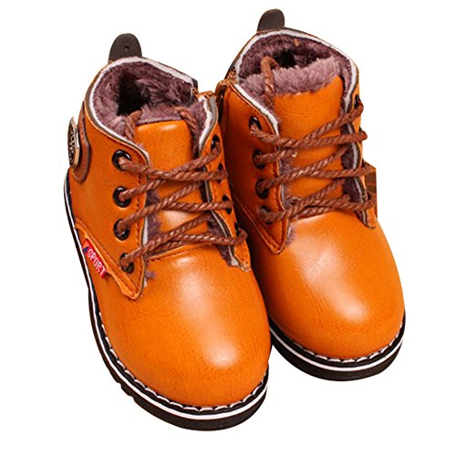 1271f915b5aecc Baby Mädchen Jungen Lerder Stiefel Kinder Warm Schneeschuhe Dicke Winter  Schuhe Gelb  Plus-Samt ...