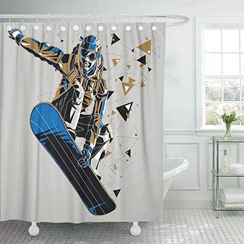 (Emvency Shower Curtain Waterproof Adjustable Polyester Fabric Blue Snowboard Snowboarder with Graphic Trail Sport Winter Athletic Board Helmet 72 x 78 Inches Set with Hooks for Bathroom)