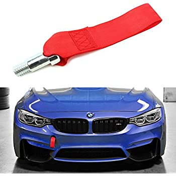 Riders Race High Strength Black Tow Towing Strap Hook for Front//Rear Bumper JDM