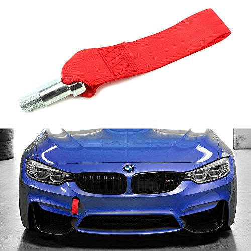 iJDMTOY (1) Red High Strength Racing Tow Hook Strap Set For BMW 1 2 3 4 5 Series Front/Rear Bumper Towing Hole (Only fit F10 F11 F20 F21 F22 F30 F31 F32 F33 F80 F81 F82, Does not fit E90 E92 E60 BMWs)