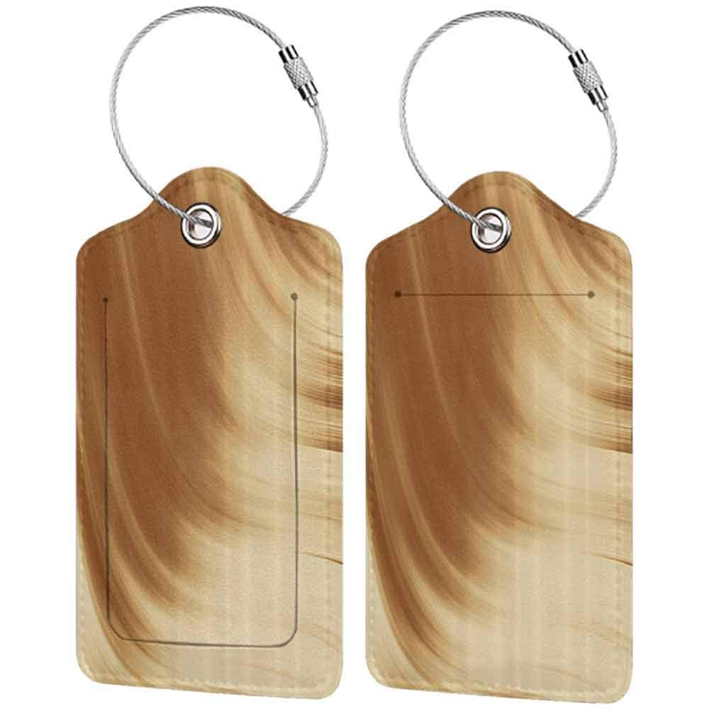 Multi-patterned luggage tag Tan Curved Wave Like Conceptual Artistic Display Creamy Effect Soft Colored Subtle Image Double-sided printing Cream Tan W2.7 x L4.6