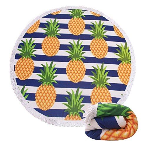 FLY SPRAY Large Round Beach Towel Blanket 60 Thick Microfiber Fringed Print Colorful Fruit Pattern Pineapple Shawl Vacation Camping Mat