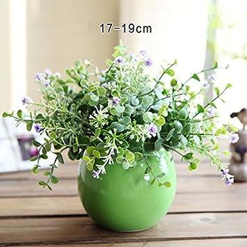 Amazon De Wlfm Kunstliche Blumen Dekoration Keramik Runde Vase