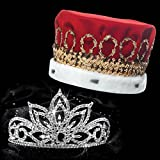 Falling Star Royalty Set, 3 inches High Falling Star Tiara and Red Velvet Crown with Gold Band, White Fur