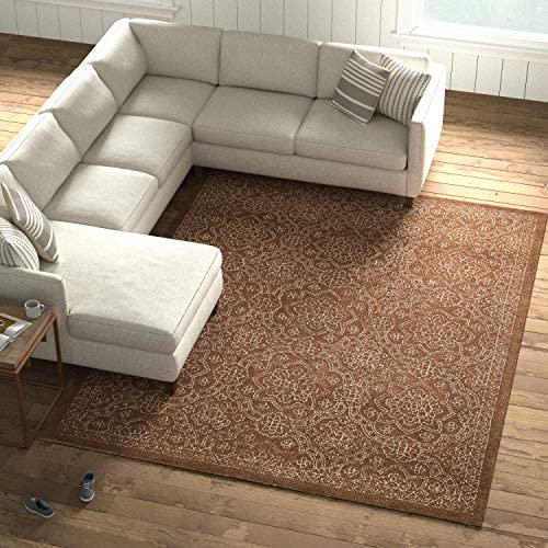 Amazon Brand Stone Beam Contemporary Floral Medallion Wool Area Rug