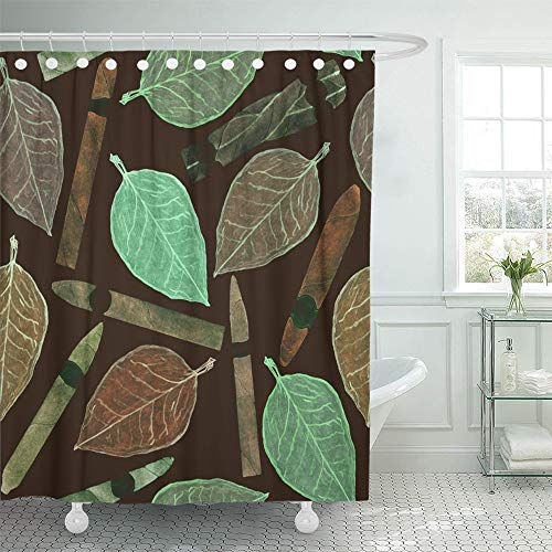 Emvency Shower Curtain Waterproof Adjustable Polyester Fabric Cigars of Different Shapes and Colors with Tobacco Leaf Hand Watercolor 72 x 72 Inches Set with Hooks for Bathroom