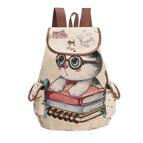 Bookbags by Vibola Women Cute Cat Printing Canvas Drawstring Backpack Shopping Bag Travel Bag (C)
