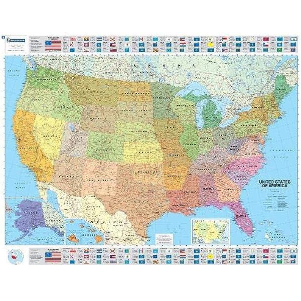 Mapa plastificado U.S.A. Político Mapas en tubo y plastificados ...