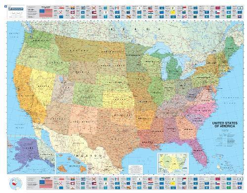 Cartina Fisico Politica Degli Stati Uniti.Amazon It U S A Politica 1 3 850 000 Carta Plastificata Wall Map Michelin Travel Publications Libri