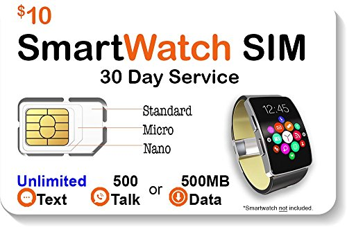 $10 Smart Watch SIM Card For 2G 3G 4G LTE GSM Smartwatches and Wearables - 30 Day - Phone Gsm 2g