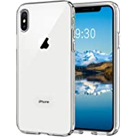 Meidom iPhone Xs Max Crystal Clear Slim Fit with Silicone Bumper and Tempered Glass Double Protection Phone Case
