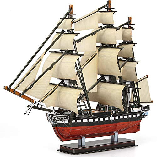 CubicFun 3D Puzzles Large Vessel Ship for USS Constitution Sailboat Model Kits for Adults and Teens Toys, 193 Pieces, T4024h]()