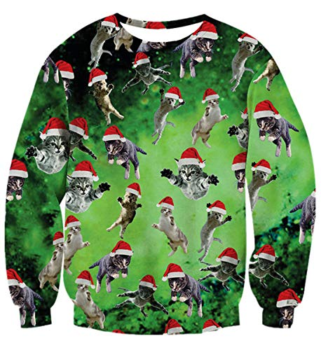 Fanient Christmas Sweater Men Unisex Funny Print Ugly Christmas Sweater Crewneck Various Design Sweater Jumpers