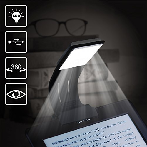Book Light, WeGuard Ultrathin Flexible Reading Light for Kindle Paperback Book Rechargeable Clip on LED Book Lamp for Reading in Bed Plane Train Dorm – 4 Brightness Mode