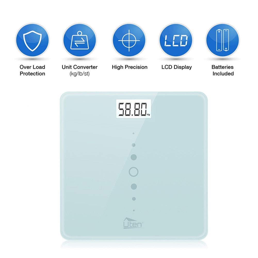 Digital Body Weight Scale High Precision Bathroom Scales with Step-On Technology, Backlight Display, Round Corner Design and 8MM Glass, 440lb/31st/200kg Capacity