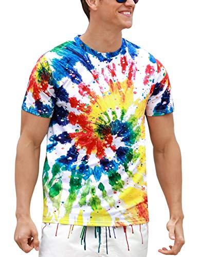 (Sykooria Teenager Paint Splatter Shirt 3D Digital Colorful Eddy Printing Tie Die Funny Teens Tee Shirts)