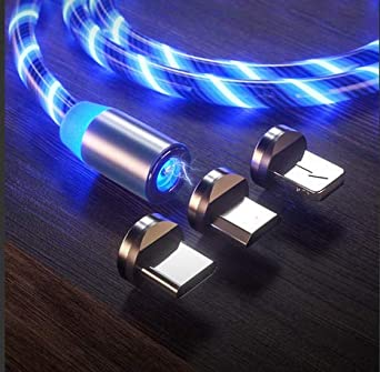 Led Flowing Magnetic Charger Cable Light Up Shining Charger Phone Charging Cable Magnetic Usb Snap Quick Connect 3 In 1 Usb Cable Compatible With Type