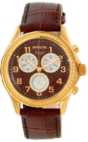 Invicta Angel Multi-Function Brown Dial Brown Leather Ladies Watch 12989