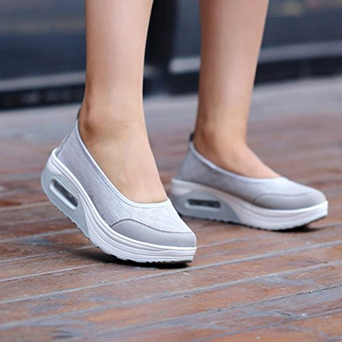 VEMOW Sandals for Women, Slippers Gladiator Wedge Tan Closed Toe Platform Sparkly High Low Heels Roman Flats Flip Flops Thongs, Platform Breathable Mesh Shake Slip Sport Sneakers Grey