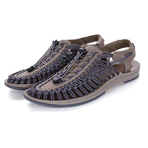 sudore al antiscivolo assorbenti Light sandali da Sandali traspiranti Sandali adatti uomo sandali in in uomo all'aperto chiusi per e regolabili da pelle tempo la il coperto spiaggia Brown per libero pelle qTpxfq8w