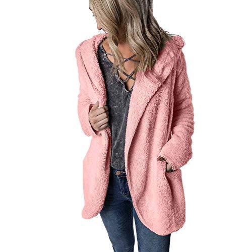 Women Faux Fur Hooded Long Coat Jacket Solid Pocket Parka Outwear Cardigan Coat