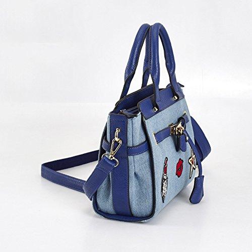 Mochila para mujer de las muchachas de las señoras bolso coreano de las señoras de la manera del nuevo de la PU del dril de algodón de la manera del bolso de mano 2010 (26 * 9 * 24CM) (azul de lago)